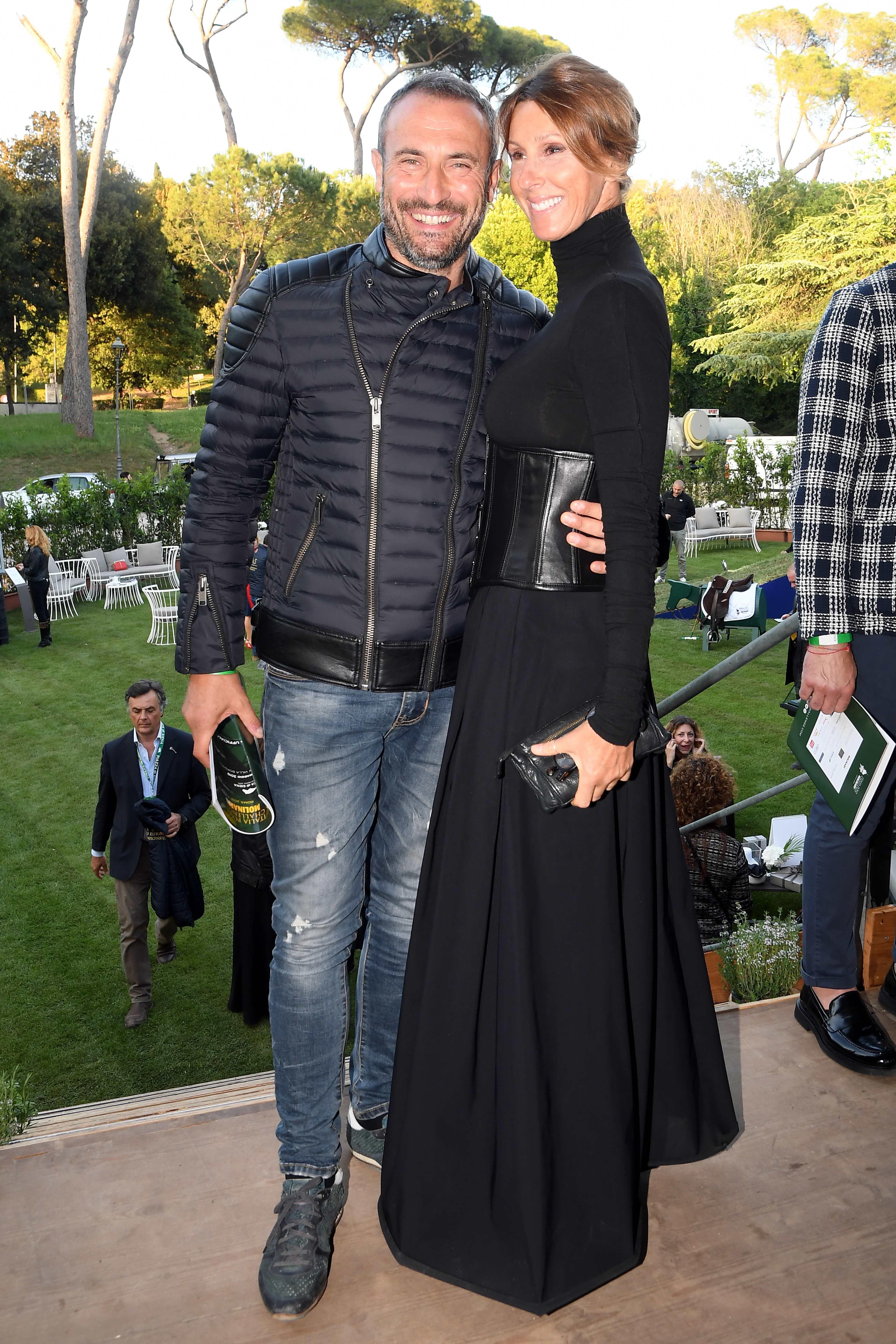 Roma: Galoppatoio Villa Borghese . Festa del Polo . Nella foto :  Giorgio Borghetti e Ilaria De Grenet