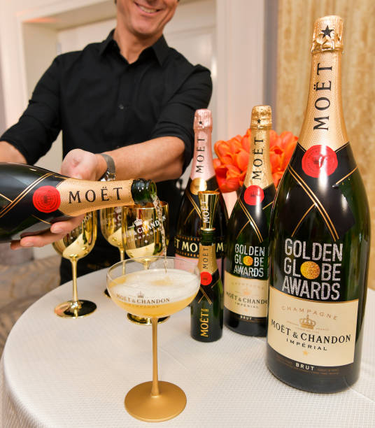 BEVERLY HILLS, CALIFORNIA - DECEMBER 16: Pouring Moet & Chandon champagne signature cocktails at the Golden Globes Annual Menu Unveiling at The Beverly Hilton Hotel on December 16, 2019 in Beverly Hills, California. (Photo by Rodin Eckenroth/Getty Images)